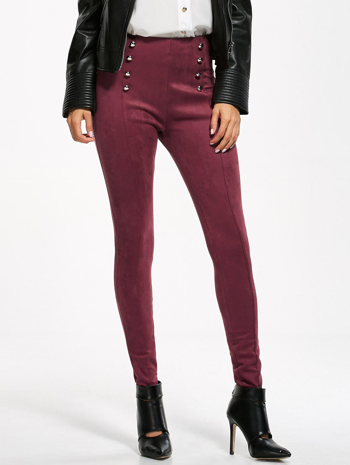 High Waisted Double Breasted Skinny Suede Pants - BURGUNDY M