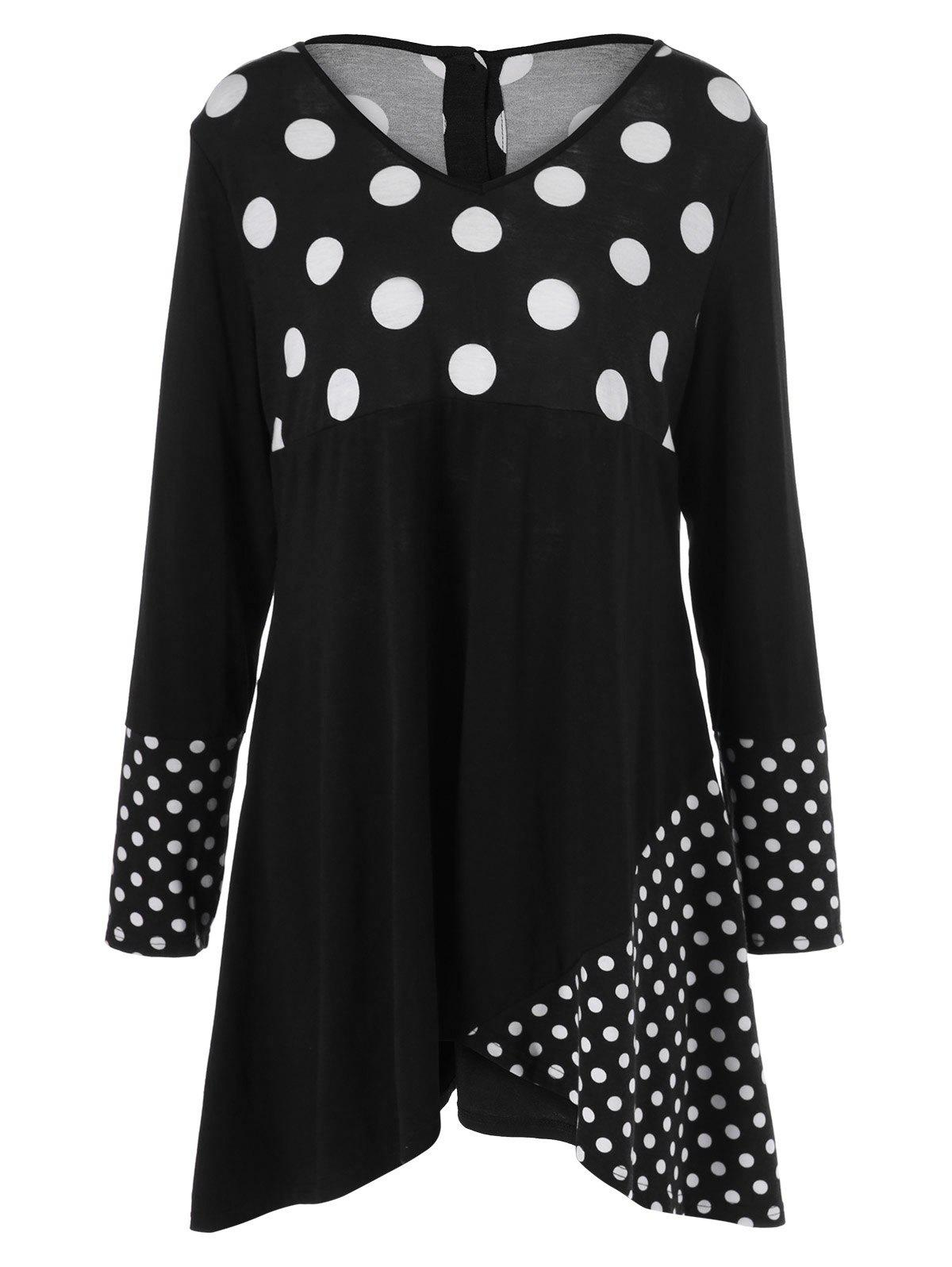 Plus Size Polka Dot Trim Asymmetrical Dress - WHITE/BLACK 3XL