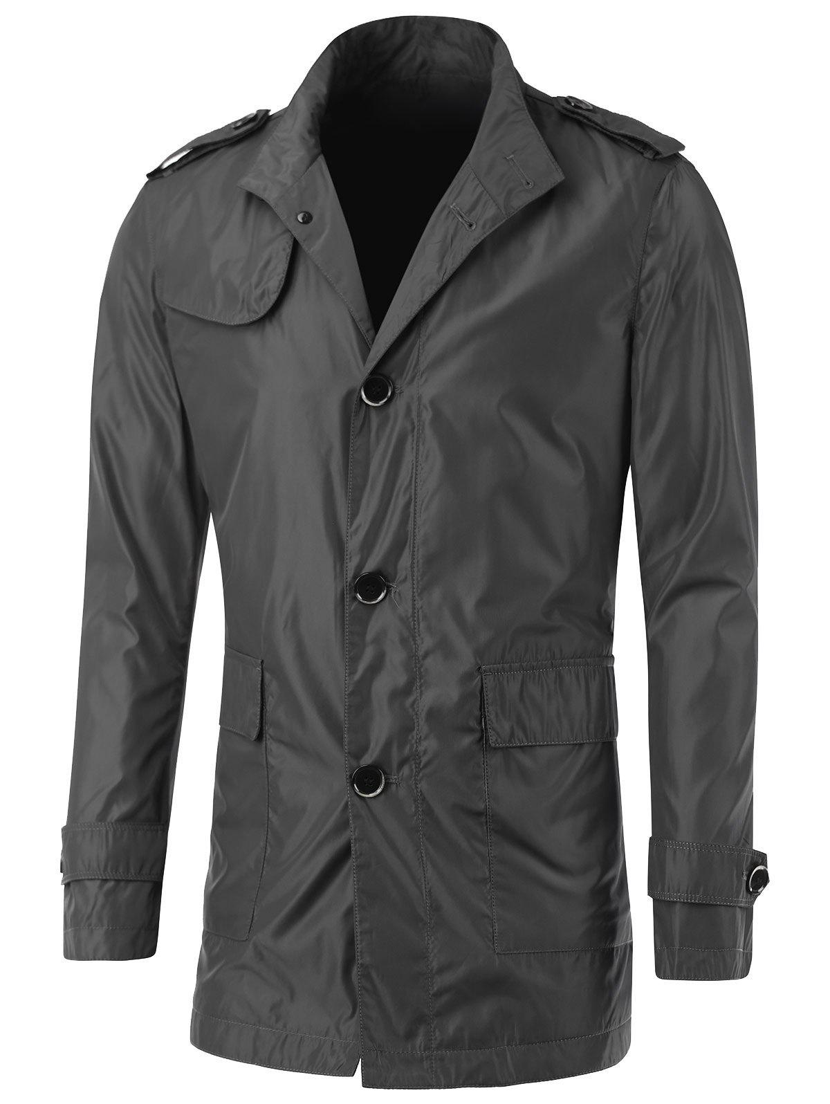 Button Up Turn-Down Collar Epaulet Design Jacket - DEEP GRAY L