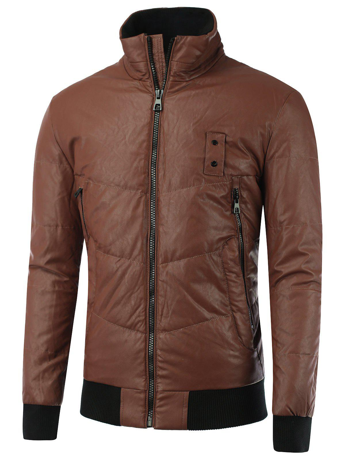 Stand Collar Zipper-Up Rib Spliced PU JacketMen<br><br><br>Size: 2XL<br>Color: BROWN
