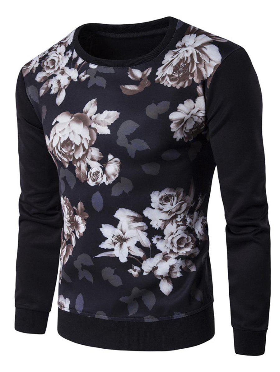 Long Sleeve Flower 3D Print SweatshirtMen<br><br><br>Size: L<br>Color: BLACK