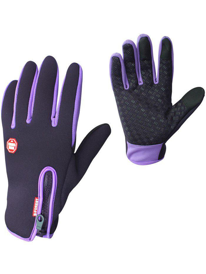 Full Finger Bicycle Sport Skidproof Cycling Gloves - PURPLE M