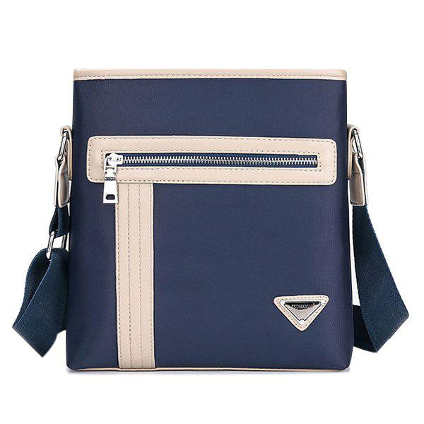 Zippers Colour Block Stitching Crossbody Bag - PURPLISH BLUE