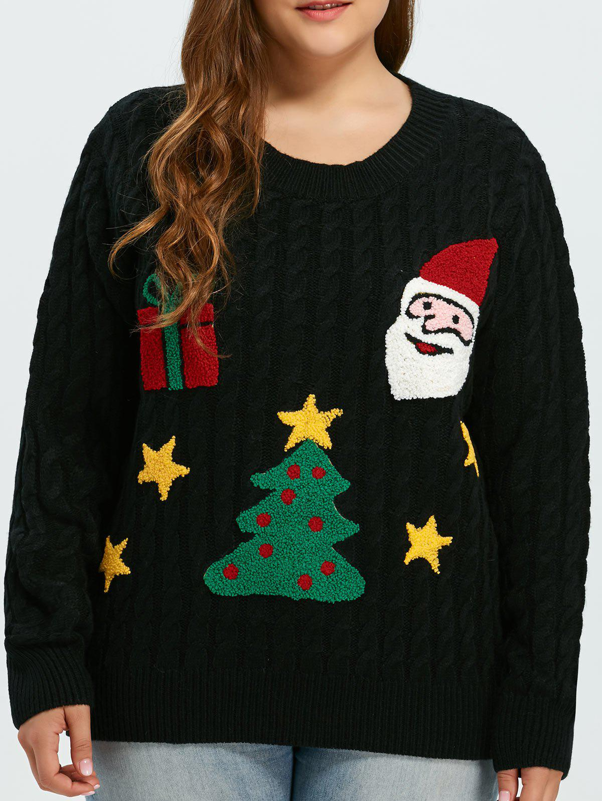 Flocked Tree and Gift Pattern Christmas Sweater - BLACK ONE SIZE