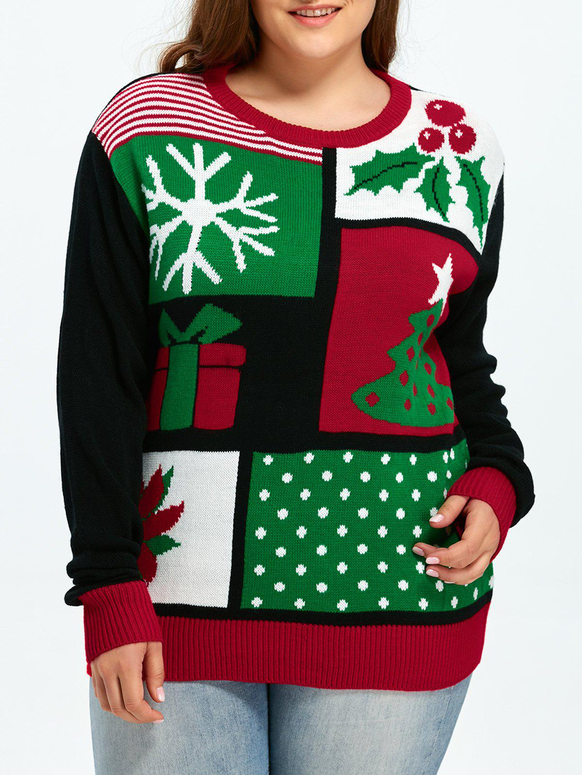 Plus Size Christmas Tree Snowflake Pattern Sweater - COLORMIX 3XL