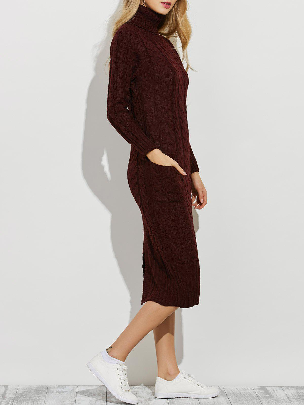 Slit Turtleneck Cable Knit Midi Sweater Dress - BURGUNDY ONE SIZE