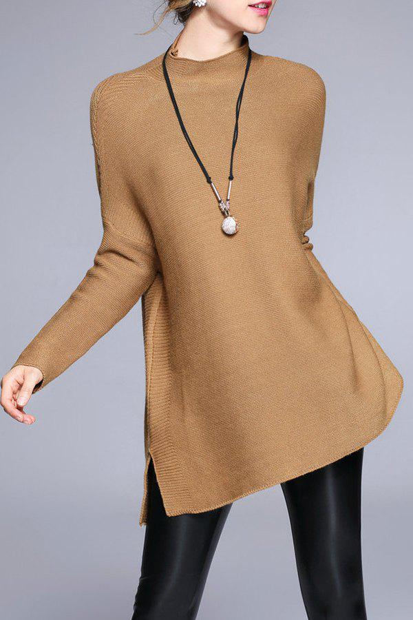 High Neck Sweater With Batwing Sleeve - LIGHT COFFEE ONE SIZE