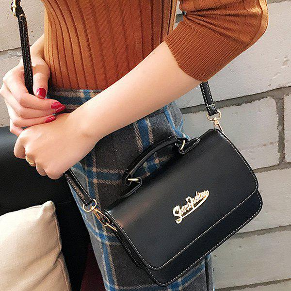 Stitching Metallic Flap SatchelBags<br><br><br>Color: BLACK