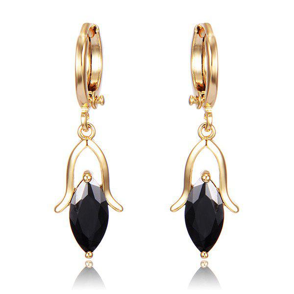 Droplight Faux Crystal Earrings - BLACK