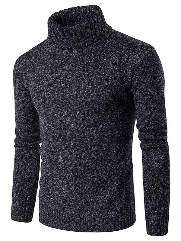 Knit Blends Roll Neck Long Sleeve Sweater - BLACK M