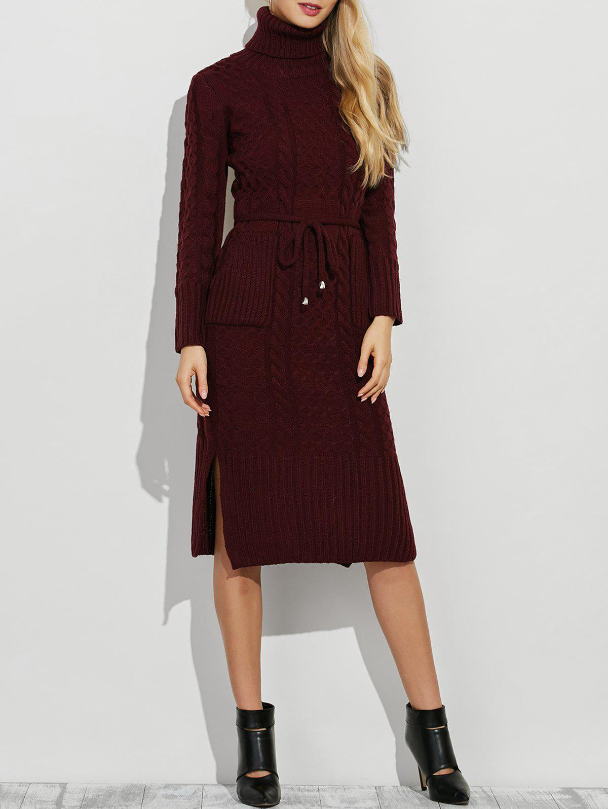 Turtleneck Side Slit Belted Long Sleeve Jumper Dress - BURGUNDY ONE SIZE
