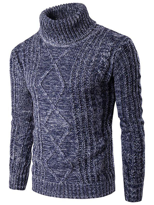 Knit Blends Roll Neck Kink Design Long Sleeve Sweater - BLUE S