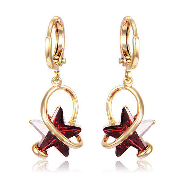 Geometry Star Faux Crystal Earrings - RED