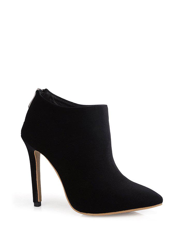 Zipper Pointed Toe Stiletto Heel Ankle Boots - BLACK 37