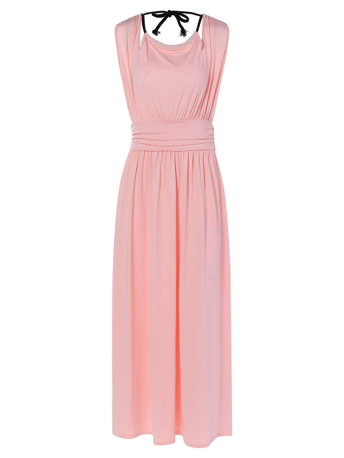 Ruched Hollow Out Maxi DressWomen<br><br><br>Size: M<br>Color: SHALLOW PINK