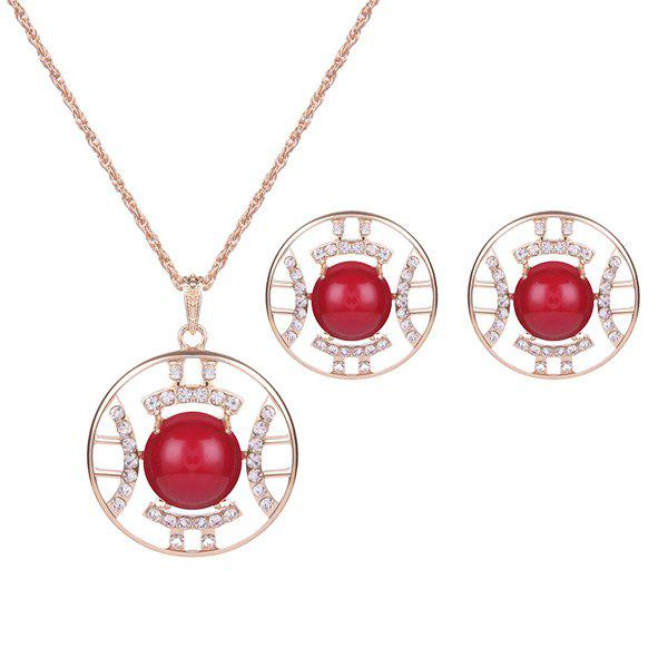 Rhinestone Bead Circle Necklace and EarringsJewelry<br><br><br>Color: RED