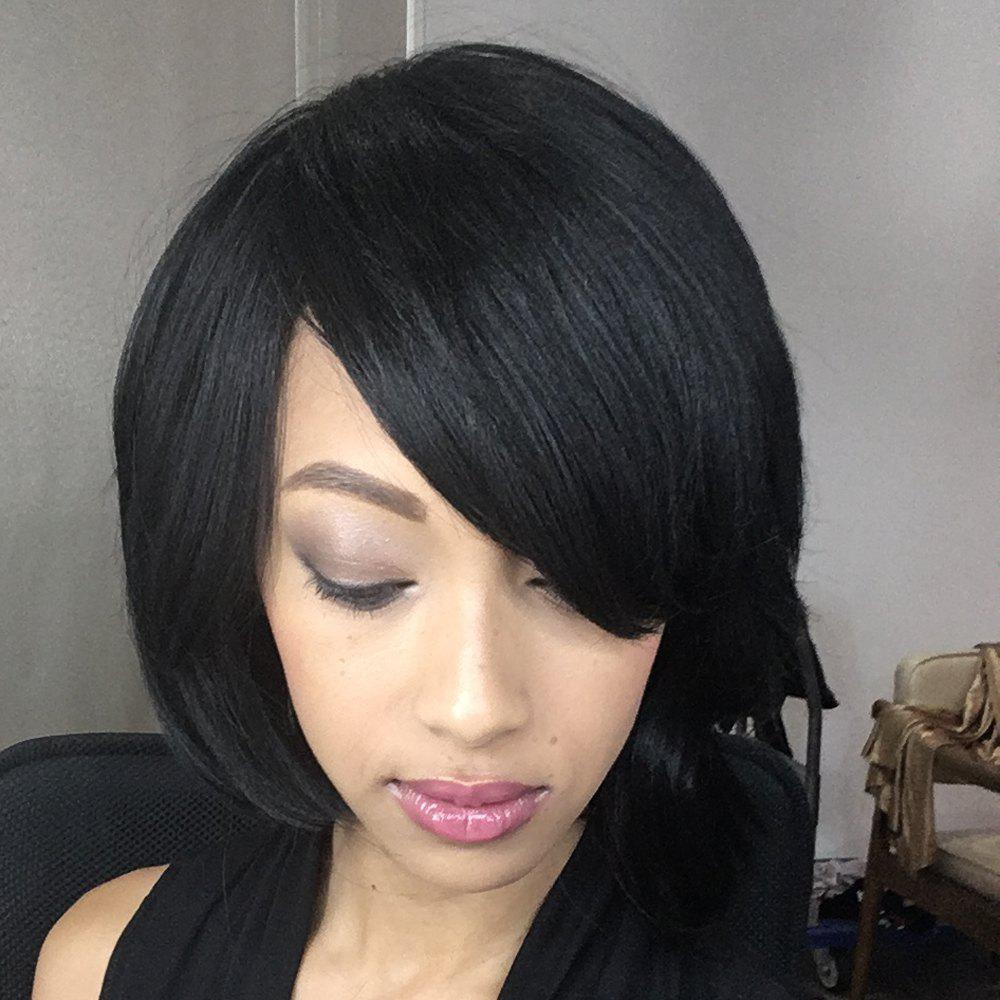 Straight Short Fluffy Oblique Bang Synthetic WigHair<br><br><br>Color: BLACK