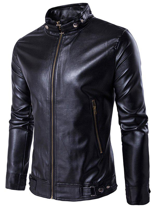PU Leather Zip Up Metal Buckle Jacket pu leather and corduroy spliced zip up down jacket