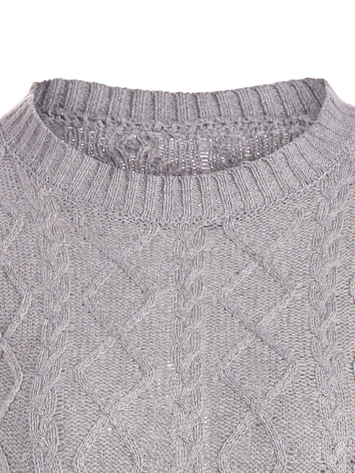 Cable Knit Pullover Sweater - GRAY XL