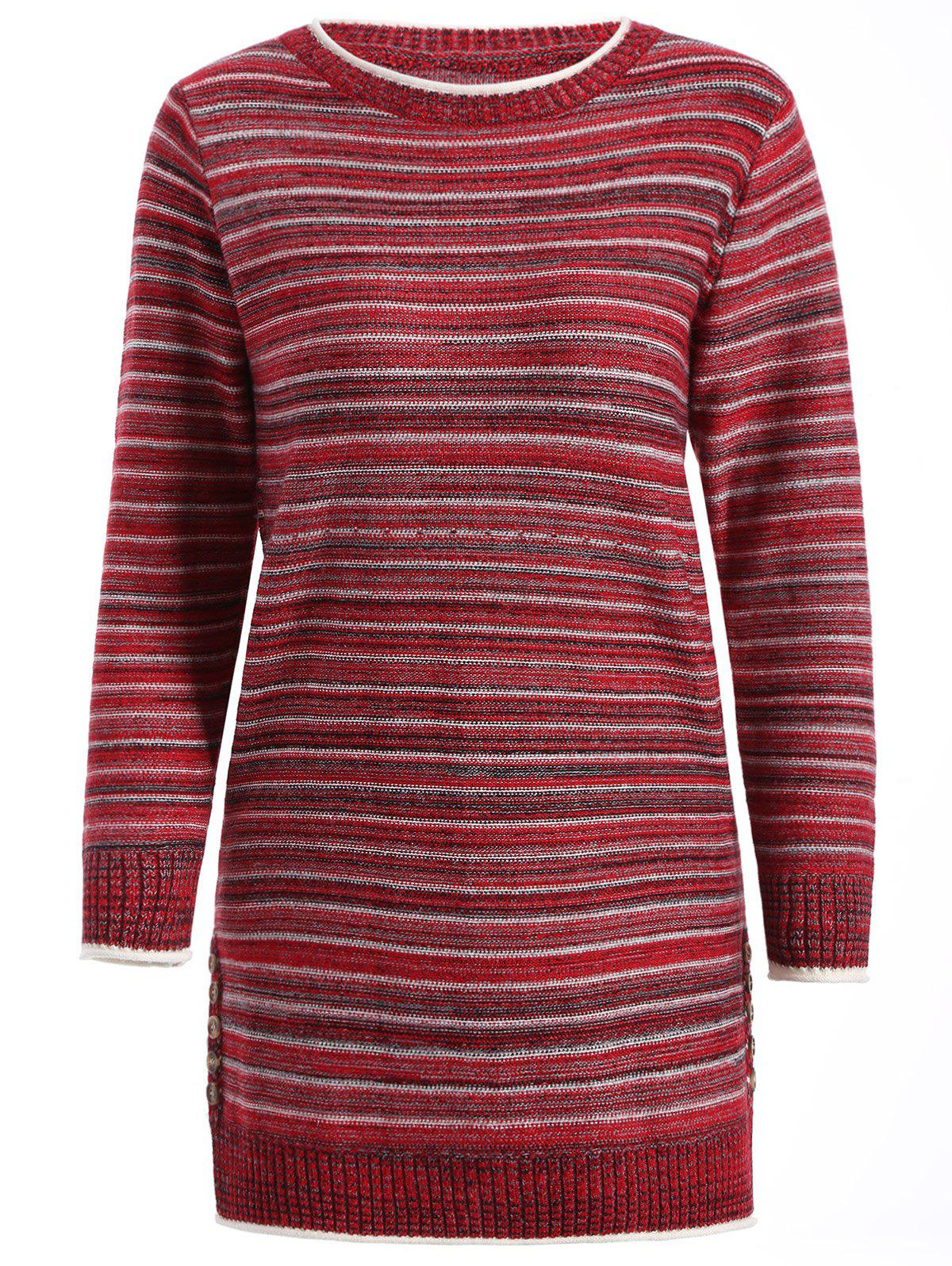 Pull long rayé - Rouge ONE SIZE