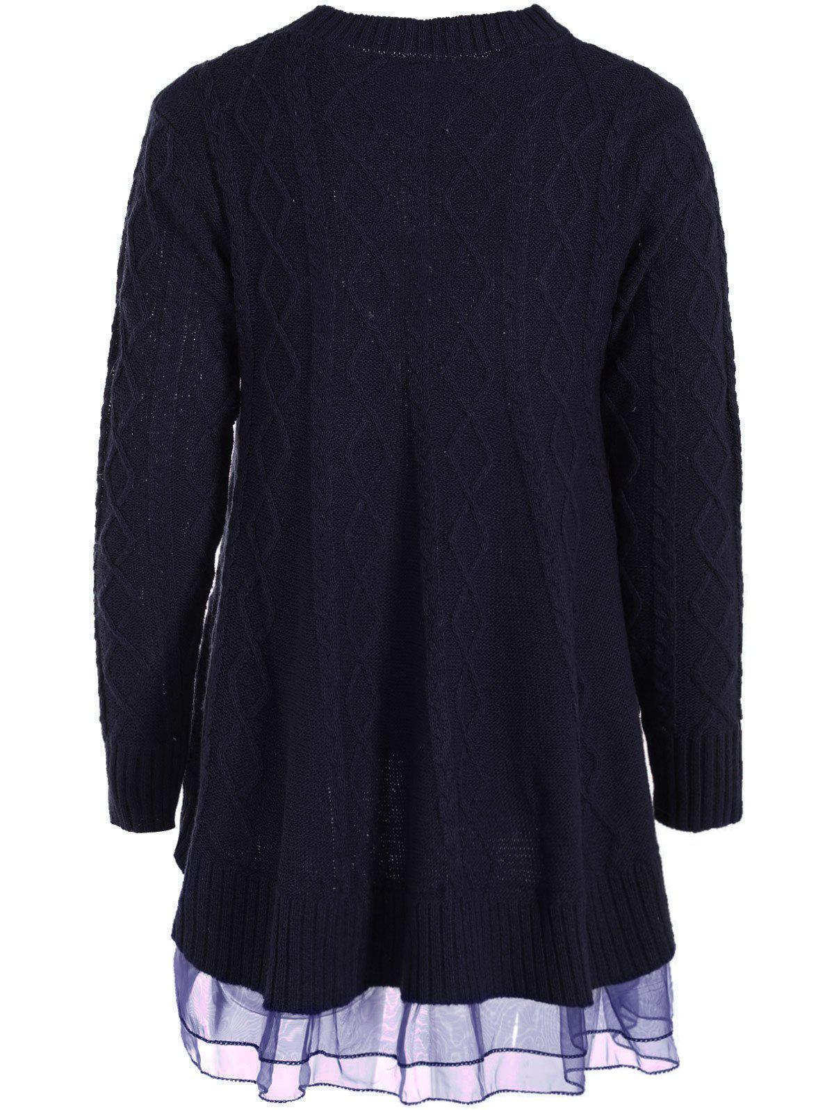 Cable Knit Pullover Sweater - PURPLISH BLUE XL