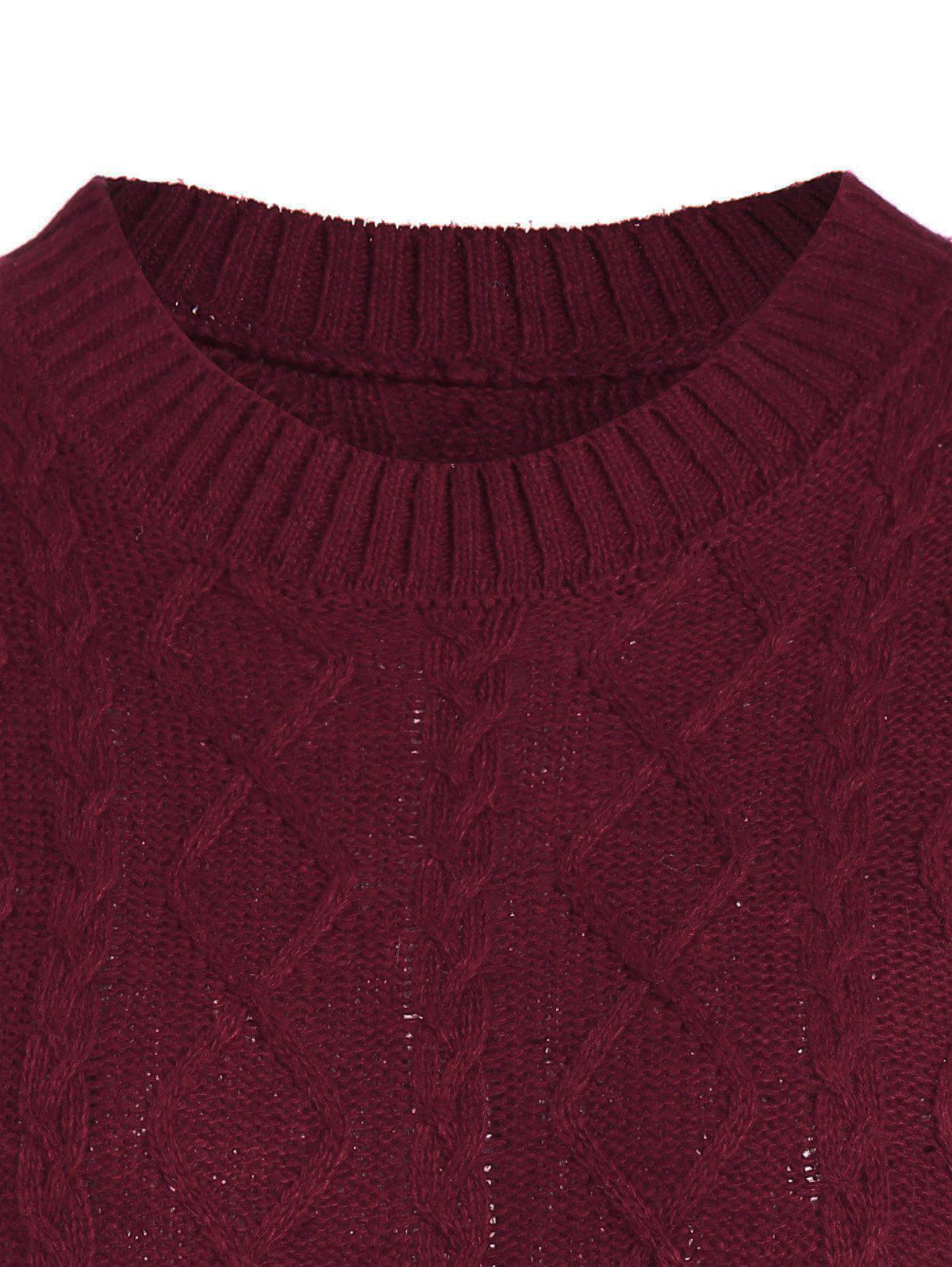 Cable Knit Pullover Sweater - BURGUNDY M