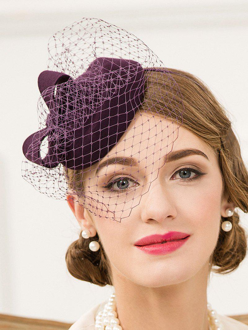 Veil Pillbox Hairband Hat - PURPLE