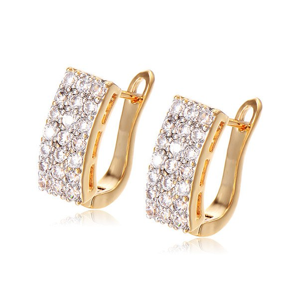 Rhinestoned Geometry U Earrings - GOLDEN