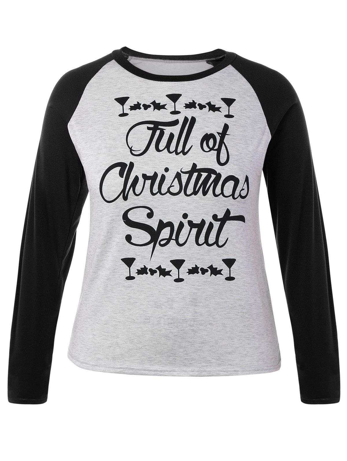 Plus Size Raglan Sleeve Christmas T-Shirt christmas spirit graphic plus size raglan sleeve t shirt