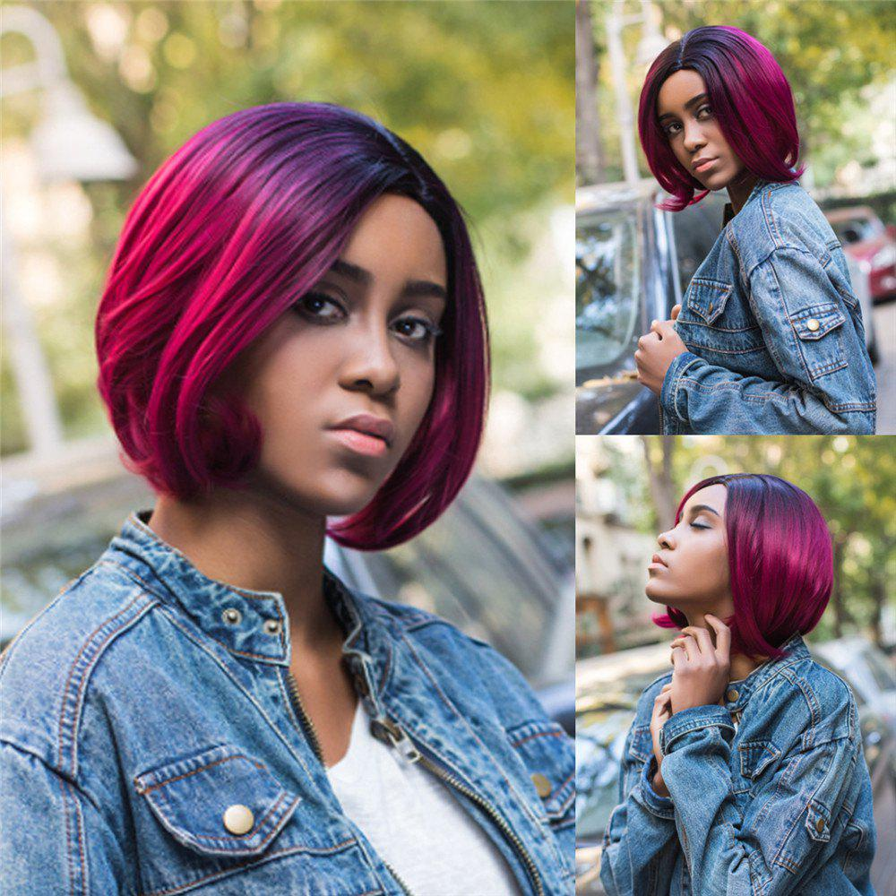 Medium Ombre Side Parting Slightly Curled Bob Synthetic Wig - COLORMIX