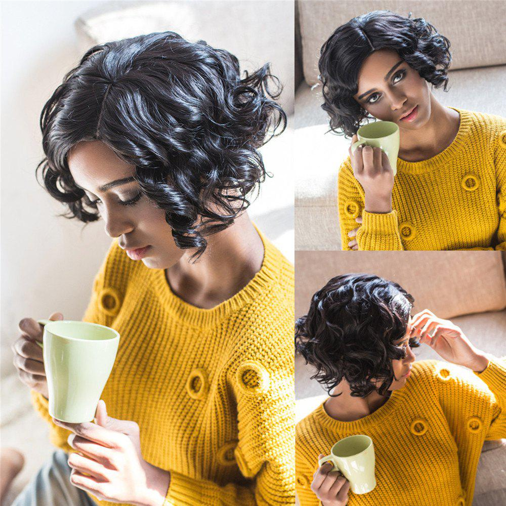 Women's Towheaded Short Side Parting Black Curly Synthetic Hair Wig - BLACK