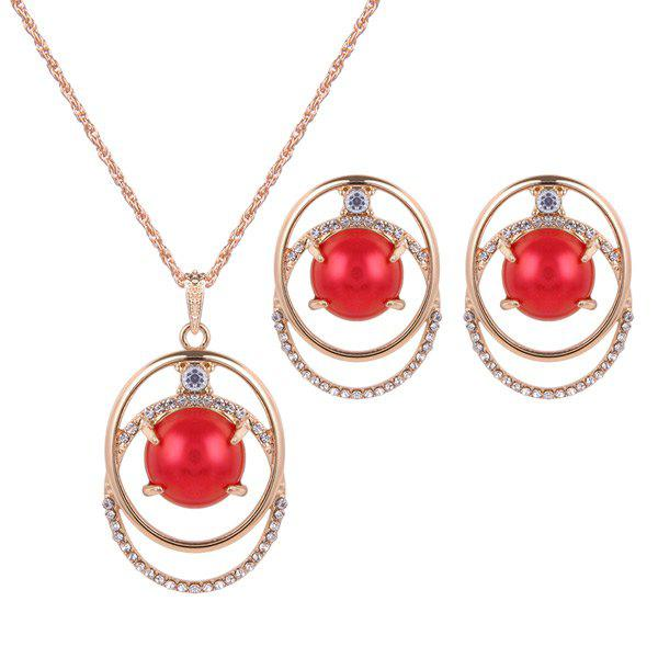 Bead Rhinestone Necklace with EarringsJewelry<br><br><br>Color: RED