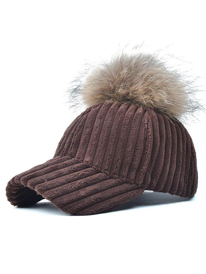 Pom Ball Embellished Corduroy Baseball Hat - COFFEE