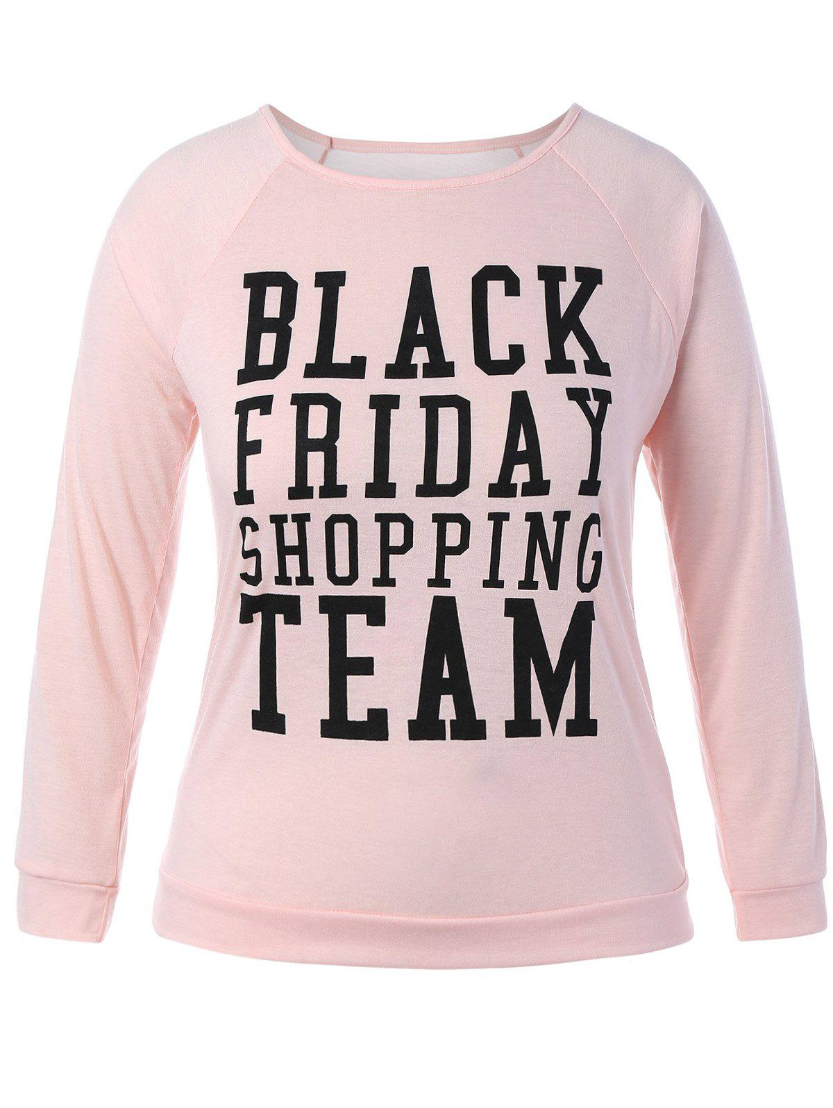 Plus Size Black Friday Long Sleeve Christmas T-Shirt - PINK L