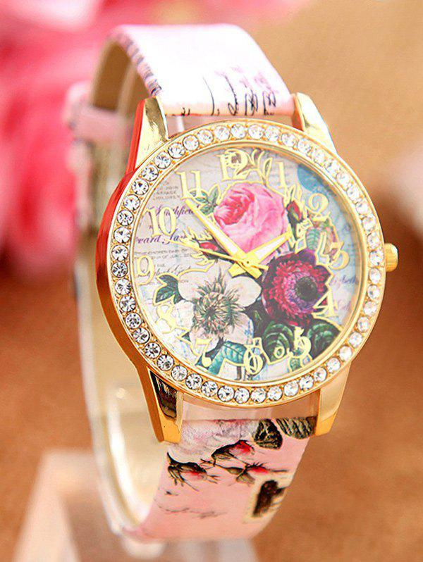 Faux Leather Rhinestone Rose Quartz Watch - PINK