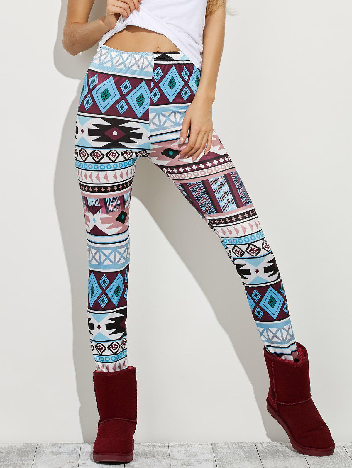 High Waist Geometric Skinny Aztec Print Leggings - COLORMIX M