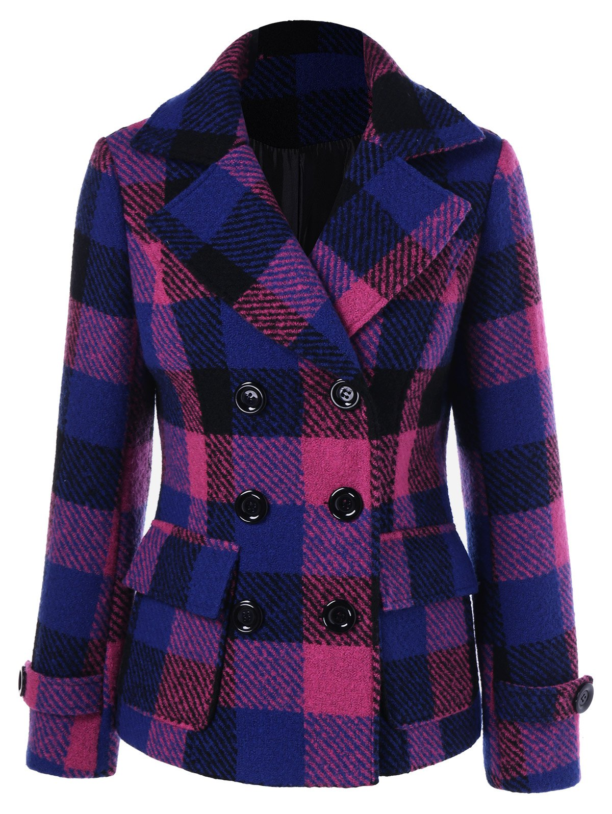 Flap Pockets Plaid Peacoat - CHECKED XL