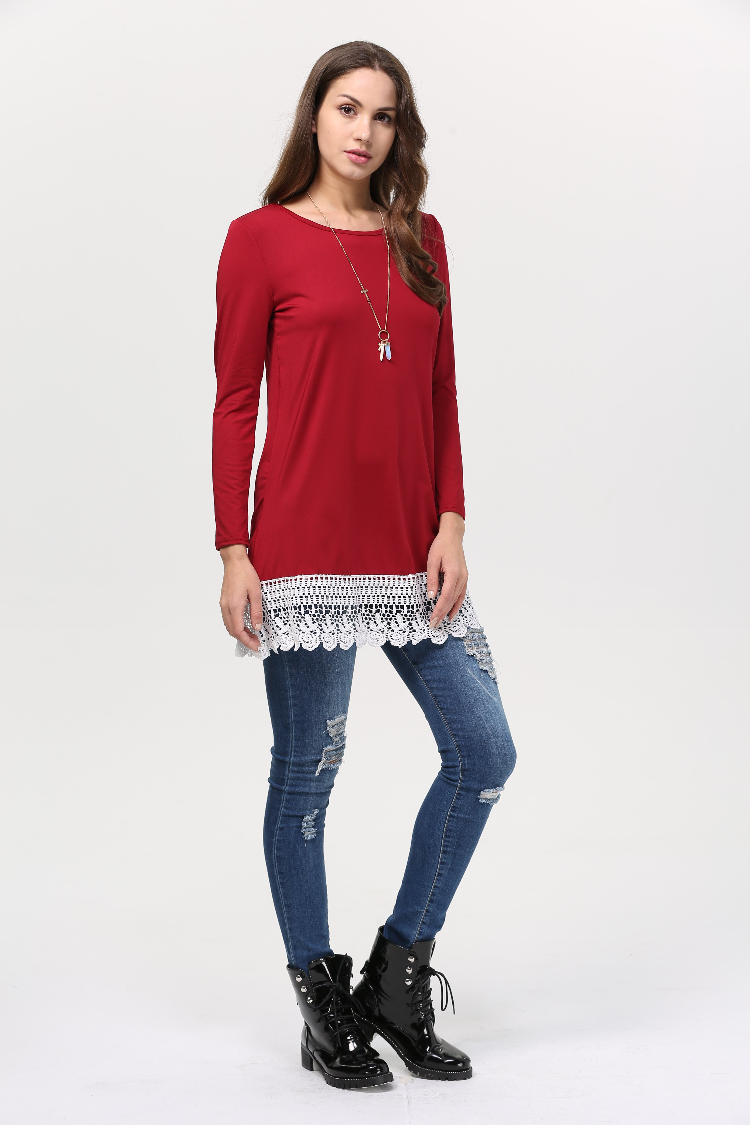 Lace Trim Tunic Top - WINE RED M