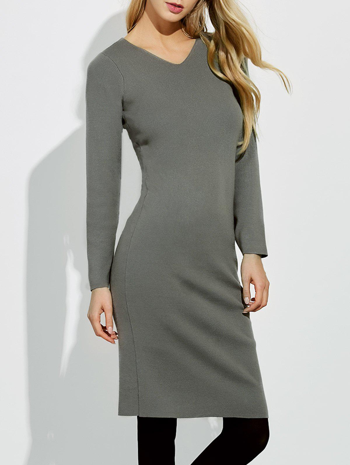 Midi Jumper V Neck Sheath Dress vestax v midi