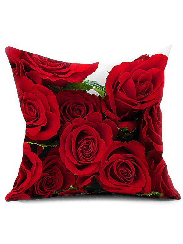 3D Rose Flower Cushion Home Decoration Pillow Cover - RED