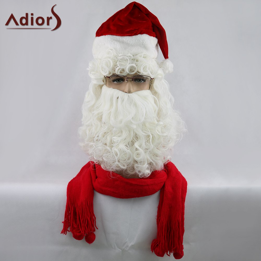 Adiors Christmas Santa Claus Party Beard and Wig Set maibosi ma 39 fashion universal in ear earphones w microphone black red 3 5mm plug 124cm