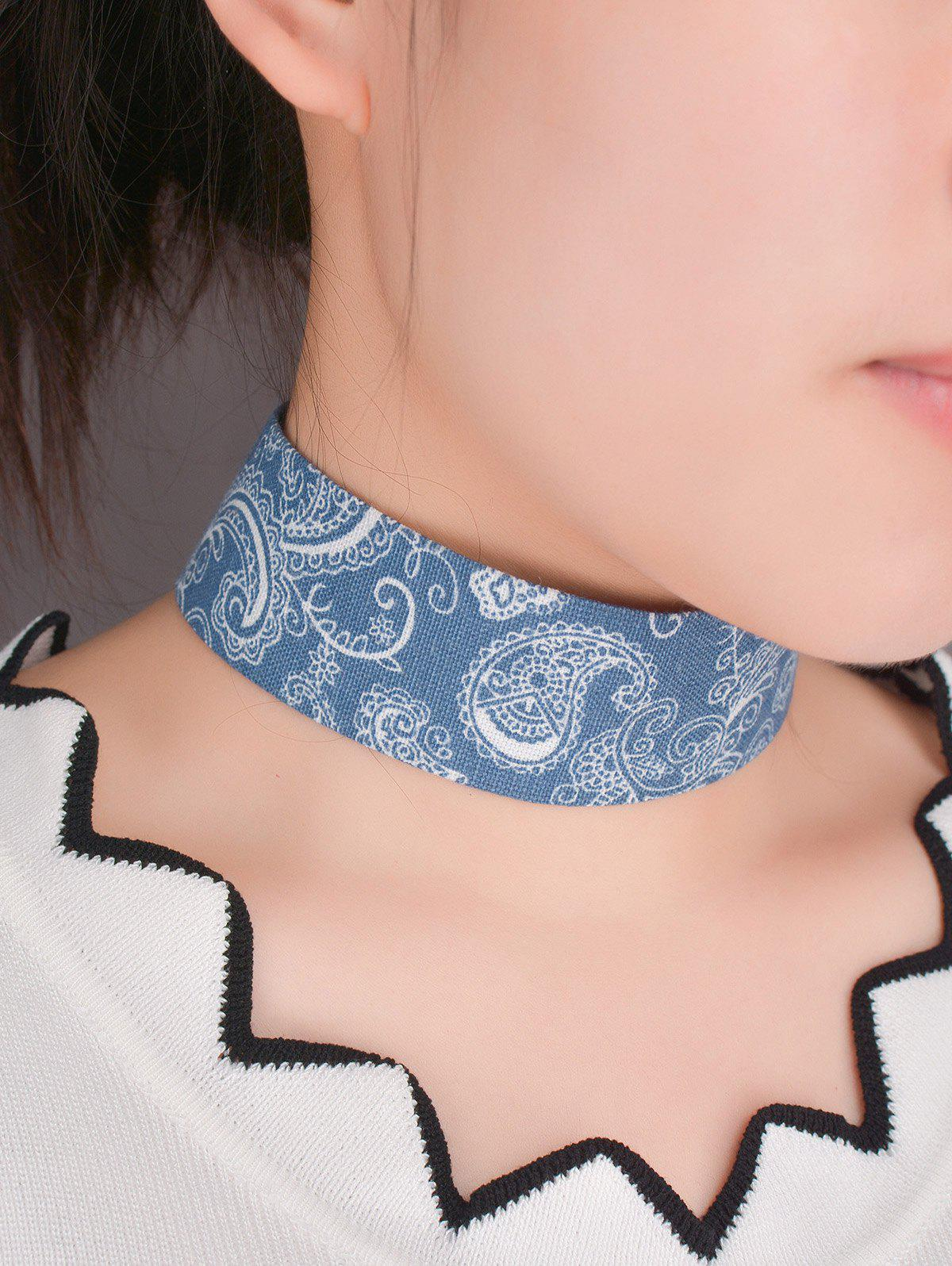 Graphic Printed Denim Choker Necklace - BLUE