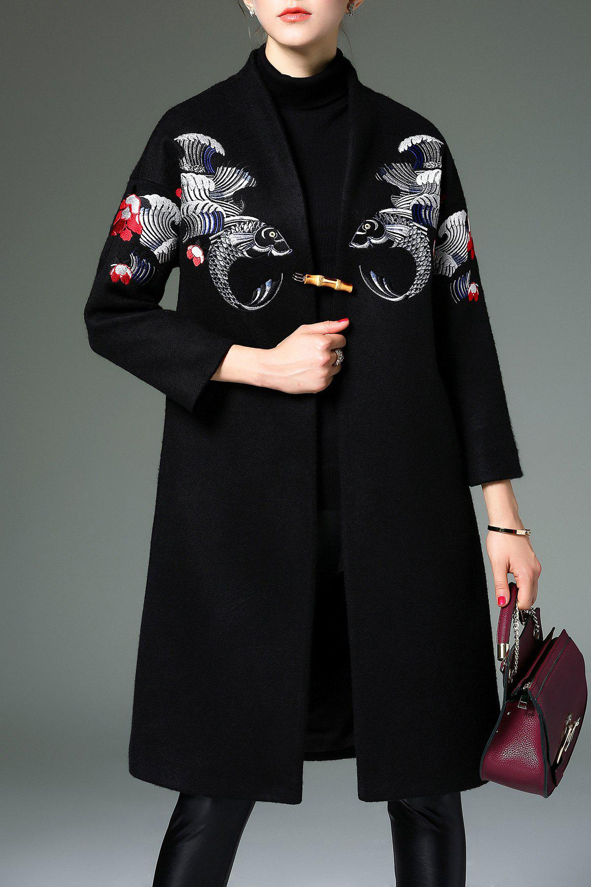 Embroidered Coat In Wool Blend - BLACK 2XL