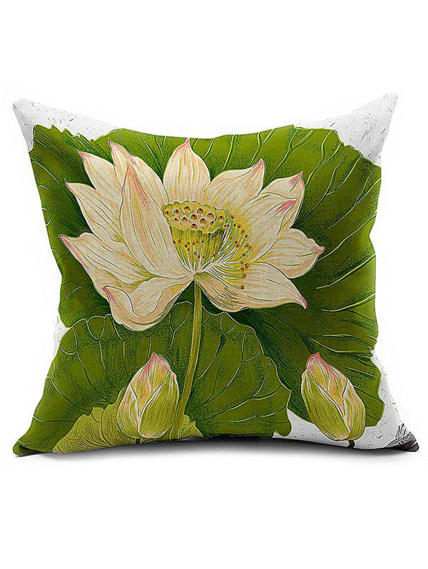 Lotus Printed Car Seat Cushion Linen Pillow Cover 1 pc free shipping shearing wool 100% australia sheepskin car seat cover for one front seat auto car cushion universal car cape