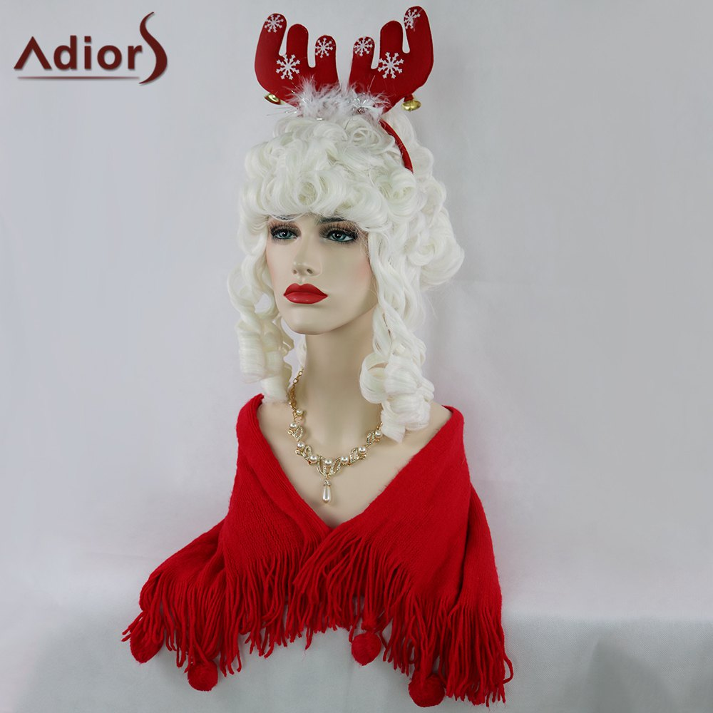 Adiors Curly Long Full Bang Christmas Party Santa Claus Wig - WHITE