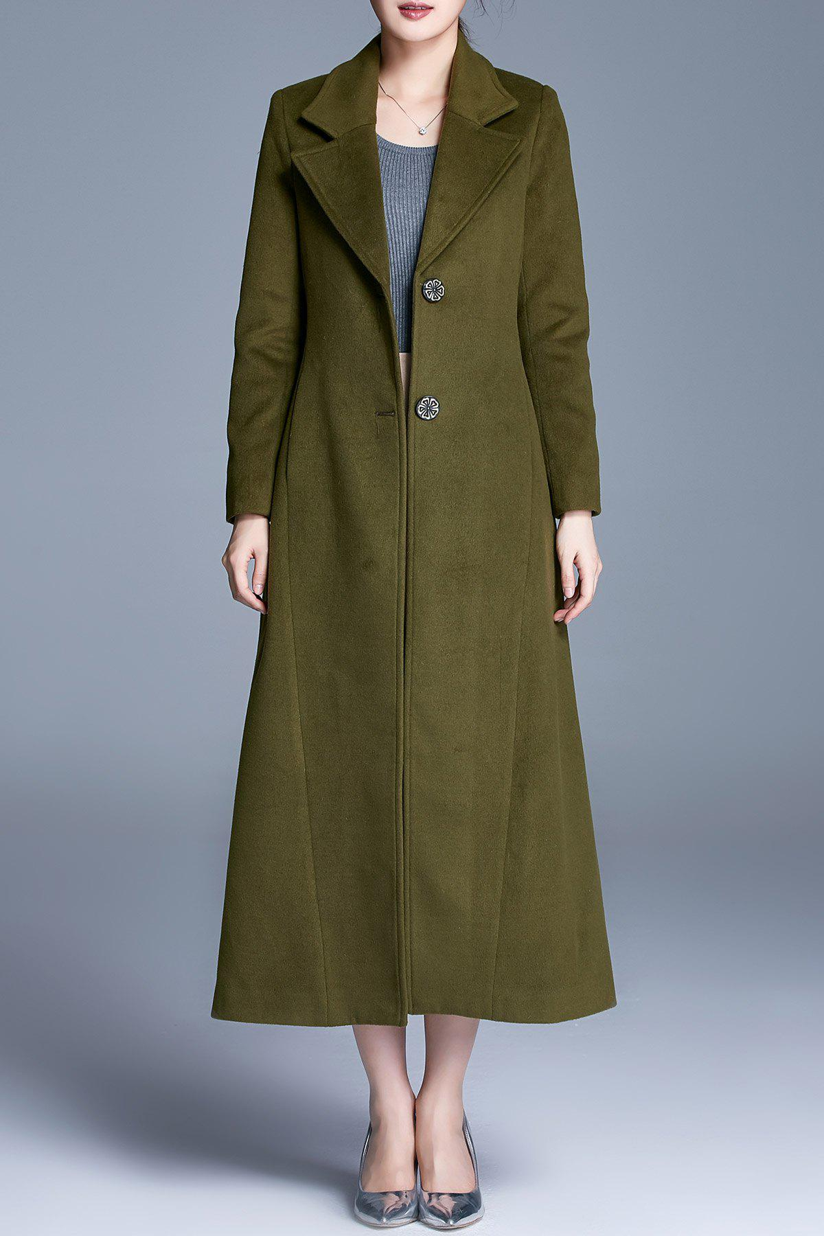 Single Breasted A Line Maxi Coat, Army green