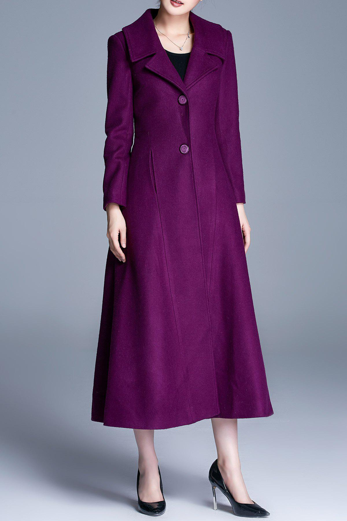 Single Breasted A Line Maxi Coat, Purple