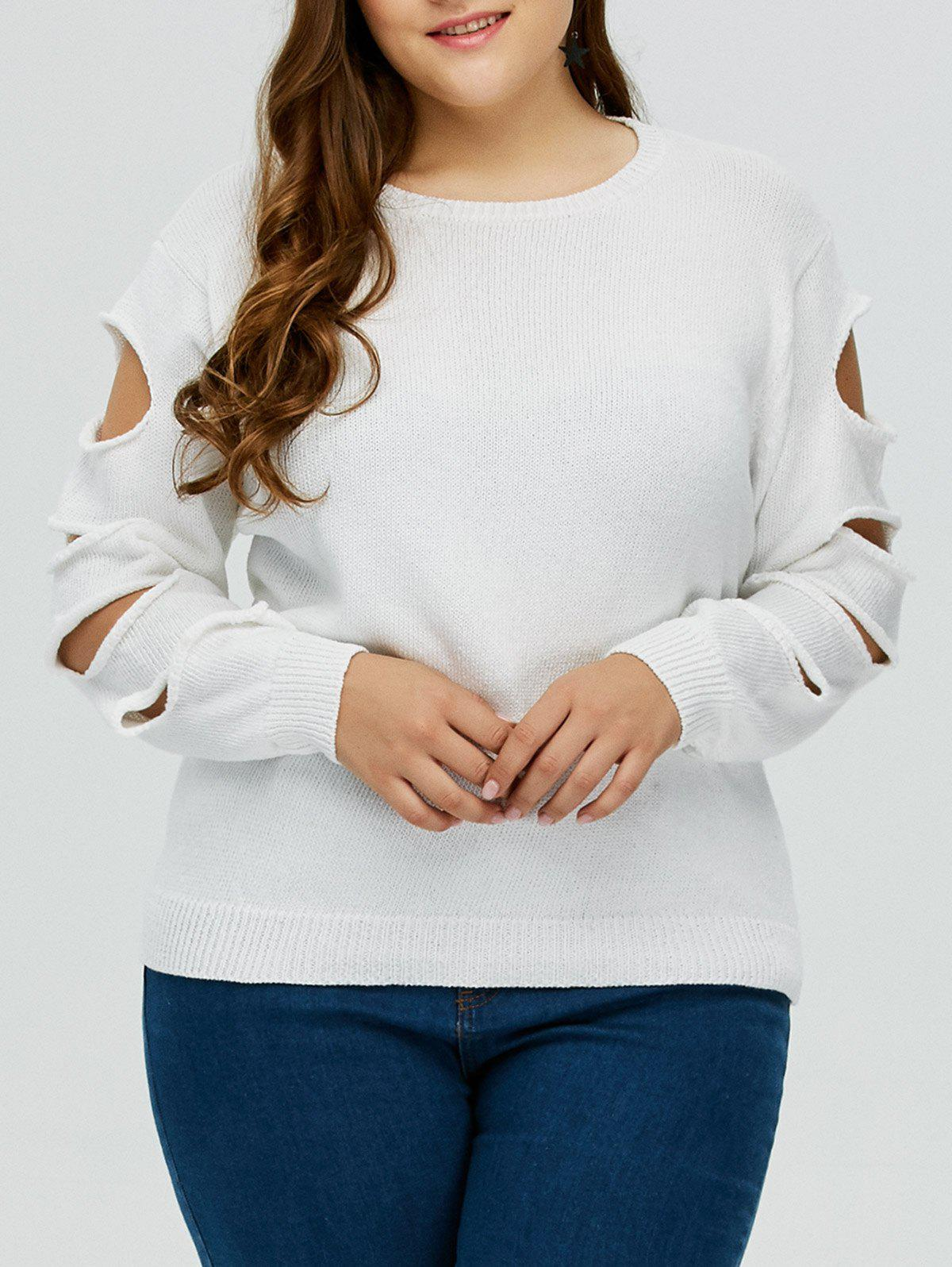 Pull Grande Taille Col Rond Manches Découpées - Blanc 5XL