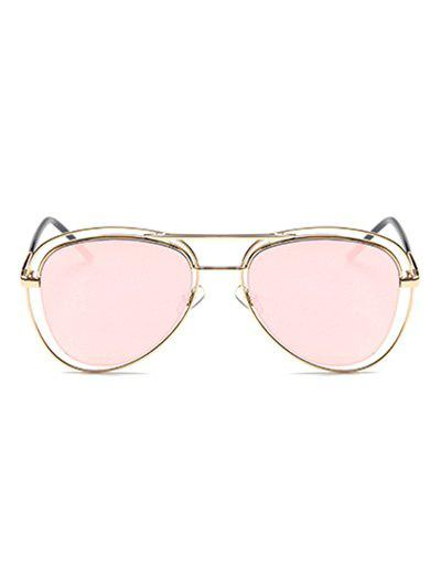 Hollow Out Rims Mirrored Pilot Sunglasses - PINK