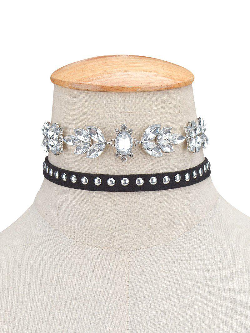 2PCS Fake Crystal Rivets Velvet Chokers - BLACK